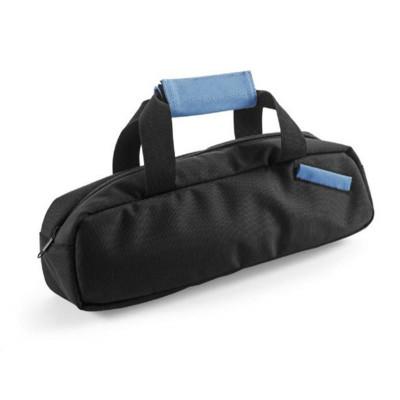 Väska för vinflaskor med blått handtag och korkskruvsset