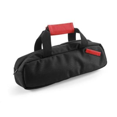 Väska för vinflaskor med rött handtag och korkskruvsset